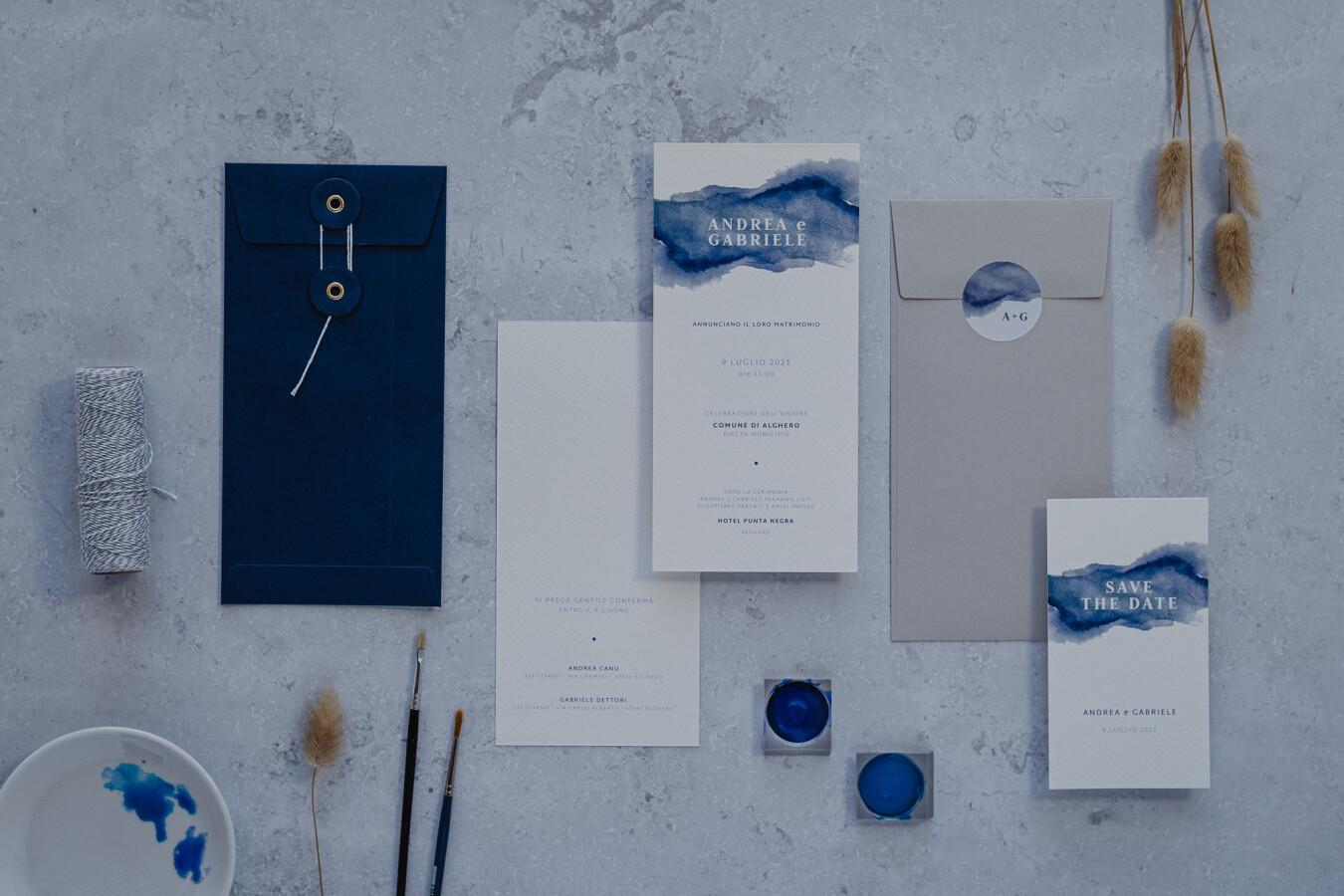 Partecipazioni nozze Acquerello - Wedsign