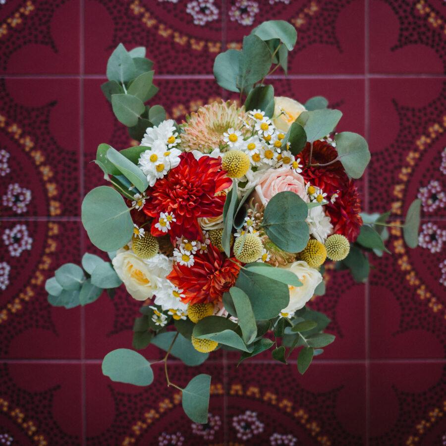 bouquet eucalipto dalia